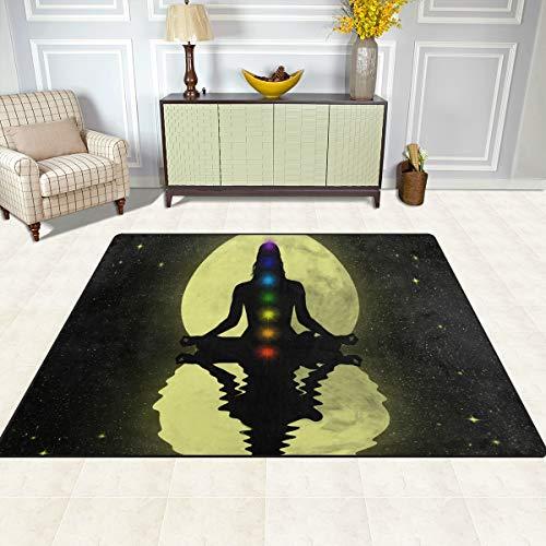 TIZORAX - Alfombra Antideslizante para Comedor o Sala de Estar (160 x 122 cm), diseño de Siete Chakras, poliéster, Multicolor, 7'x5'