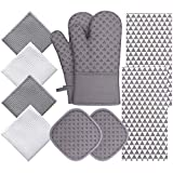 Oven Mitts and Pot Holder Sets with Kitchen Towels and Tablecloths, 10PCS 500 Degree Heat Resistant Soft Lining Oven...
