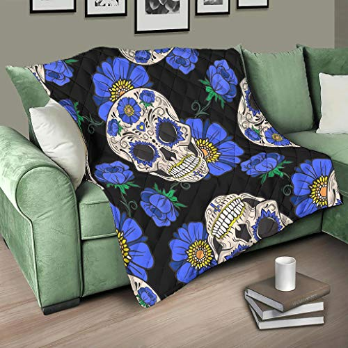 HMML Quilted Blanket Throw Blue Flowers Skull Durable Quilts Blankets for Summer Autumn Winter White 79x91inch