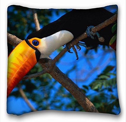 décoratifs carré Couvre-lit Taie d'oreiller animaux Oiseaux animaux Oiseaux Couleur Parrot Toucan arbres Yeux POV 45,7 x 45,7 cm deux côté, polyester & polyester mélangé, Motif 1, European