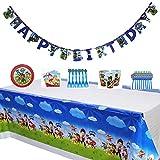 Decoración Cumpleaños,Cumpleaños Paw Patrol Kit de Vajilla Desechable Paw Patrol Accesorios de Decoración para Fiesta,Suministros de Fiesta 52Piezas