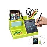 Desktop Organizer multifunzionale con LCD Writing Tablet per penna/biglietto da visita/tel...