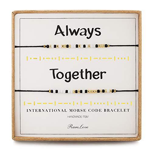 RareLove 2 Pieces Always Together Morse Code Bracelet for 2 Couples Boyfriend Girlfriend Long Distance Friendship Secret Message Women Men Tiny Pony Seed Beads Black String Bracelets