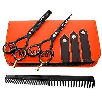 MAXYLON Hairdressing Black Hair Cutting Scissors Barber and Thinning Salon Shears Set 5.5 inches (Silver) (Black) (Black)