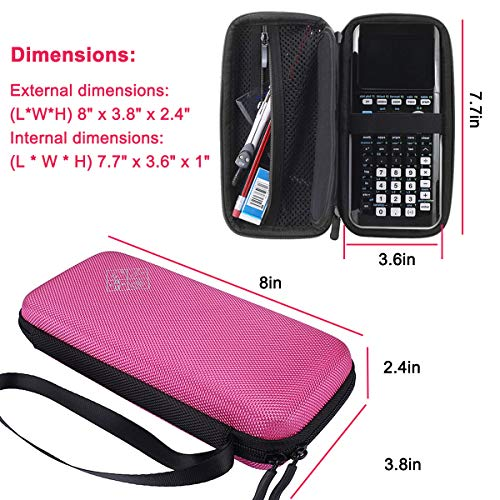 Xberstar Hard EVA Shockproof Carry Case Bag Pouch for Texas Instruments TI-84 Plus CE/Color TI-83 Plus,TI-89 Titanium, HP 50G Graphing, Scientific Financial Calculators (Pink) Photo #4