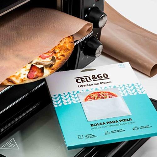 CELI&GO Bolsa para Pizza – Pack de 1 Bolsa para Hornear Pizza Reutilizable, Lavable, Antiadherente, Libre de PFOA, Evita la Contaminación Cruzada – Tamaño Pizza Mediana 34 x 36 cm