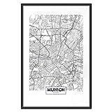 murando Poster Stadt München 40x60 cm mit Rahmen Bilder