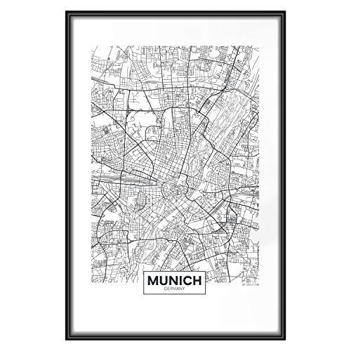 murando Poster Stadt München 30x45 cm mit Rahmen Bilder Kunstdruck Plakat Wandbild Print Kunstposter Wandposter Gerahmt Wandbild Wohnung Wanddeko Design - Karte d-B-0227-ao-a