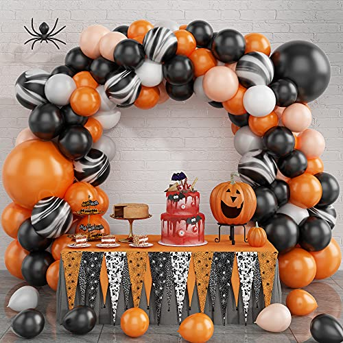Arco de globos de Halloween Kit, Negro Naranja Látex Blanco Ágata Globos...