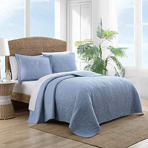 Tommy Bahama Costa Sera Collection Soft and Breathable, Quilt Bedpsread Coverlet Seasons, Pre-Washed for Added Softness, King, Blue