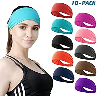 DASUTA Set of 10 Women's Yoga Sport Athletic Headband for Running Sports Travel Fitness Elastic Wicking Workout Non Slip Lightweight Multi Headbands Headscarf fits All Men & Women (Style 3-10 Color)