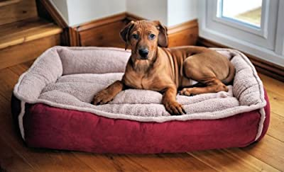Large Round Luxury Fleece Dog Bed by Wolfybeds