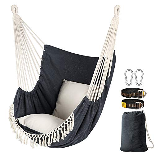 Chihee Hammock Chair Hanging Swing 2 Seat Cushions Included,Strong Webbing Straps and Hooks for Easy Hanging Soft Cotton Weave Hanging Chair Side Pocket Large Tassel Chair Set Comfort Indoor Outdoor
