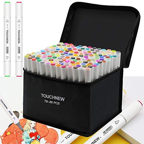 Mutsitaz 24 Colori Penne Tono Doppia Punta Marker Set per colorare libri per marcatori per disegnare Colorare Graffiti Disegno Manga