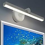 Aplique Espejo Baño led 9W Lámpara de Espejo HOMEOW 395mm Luz Baño Pared Luz Blanca Neutra 4000K 585LM AC100-240V para Tocador Probador Cuarto de Baño Dormitorio Acero Inoxidable Iluminación del Hogar