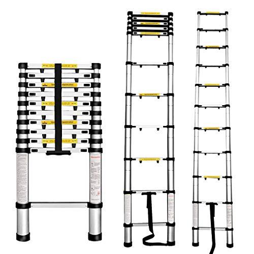 Finether Escalera Telescópica de Aluminio, Escalera Extensible Multifuncional Portátil 3,2M con Protección de Dedos. Certificada por EN131, profesionales y Plegables, Carga 150kg Color Negro