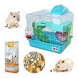 DI ZE LIN PET HOME S.L DZL® Jaula para Hamster 27 * 21 * 25cm jaulas Hamsters pequeña Bebedero comedero y Escalera Comida incluidos Color Aleatorio