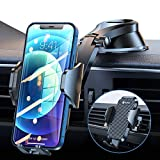 VICSEED Cell Phone Holder Car, [Doesn't Block View & Thick Case Friendly] Car Phone Holder Mount, Strong Suction Cell Phone Car Mount Dashboard Air Vent Windshield Fit with iPhone 13 12 & All Phones