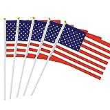 safeinu アメリカの旗 フェスティバルイベント アメリカ米国の旗 ワールドカップ 10xハンドヘルドスモールミニフラグ 国際フェスティバル スティックフラグ パレードのパーティー装飾用品 国の旗 America