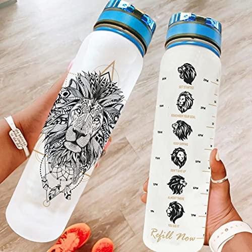 Bestwe Löwe - Botella de agua con diseño de atrapasueños (tritán, con marcas de tiempo, ligera, para deporte, exterior, camping, gimnasio, color blanco, 1000 ml)