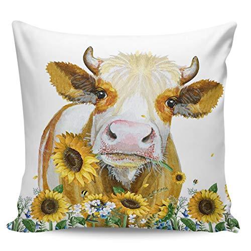 Scrummy, federa per cuscino da 50,8 x 50,8 cm, motivo: mucca agricola e girasole, stile country americano, federa quadrata per cuscino decorativo per la casa