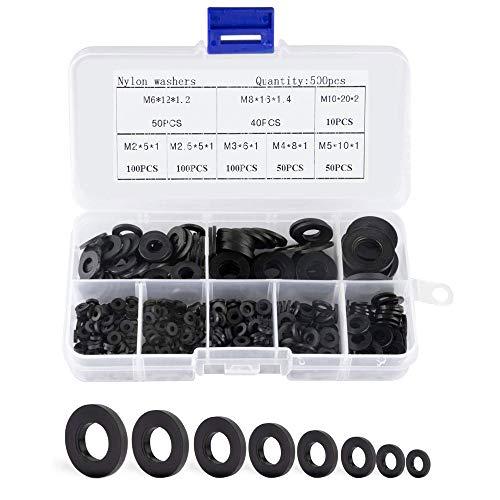 Golrisen 500 Pcs Flache Unterlegscheiben schwarz aus Kunststoff Unterlegscheiben Gummischeiben Kunststoff Beilagscheiben Rund Isolierscheiben Scheibe M2 M2,5 M3 M4 M5 M6 M8 M10 Washer für Mechanische