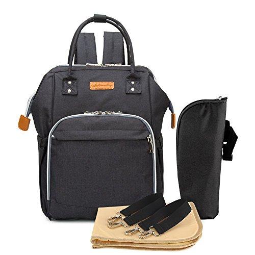 Multifunción pañal bolsa de pañales cambiador de viaje, gran capacidad mochila bolsa reutilizable, ligero elegante Durable Mochila con bolsillo botella aislante para mamá y papá (Negro puro)
