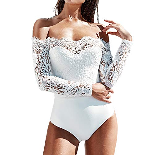 Petalum Damen Bodysuit Stringbody Sexy Spitze Overall Schulterfrei Body Off Shoulder Shirt Bluse