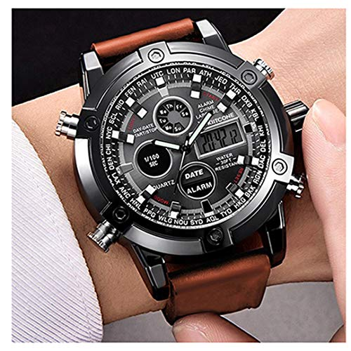Micacchi Analogue Digital Multi Colour Dial Leather Brown Strap Mens Watches Boys...