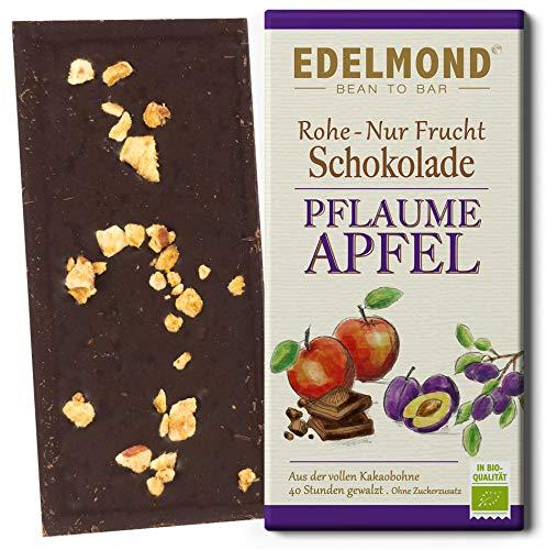 Bio Nur Frucht Pflaume und Apfel Edelmond Schokolade - Ohne zugesetzten Zucker (1 Tafel)