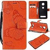 SATURCASE Motorola Moto Z4 Play Hülle, Schmetterling PU Lederhülle Magnetverschluss Brieftasche Kartenfächer Standfunktion Schutzhülle Handyhülle Tasche Hülle für Motorola Moto Z4 Play (Orange)