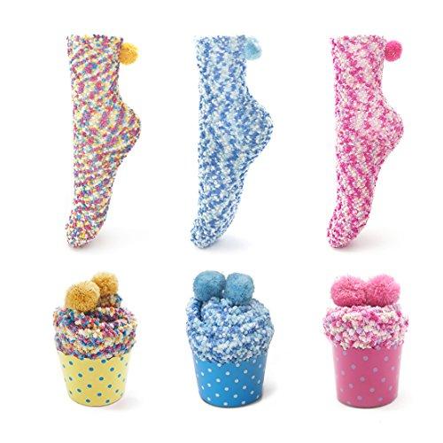 Leapop 1 oder 3 Paare Damen Mädchen Socken Cupcakes Design Flauschig Gemütliche Weiche Dicke Warme Weihnachtssocken mit Geschenkbox (3 Paare (gelb+blau+rosa rot))