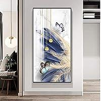 キャンバス絵画カスタマイズされた羽飾り絵画廊下端吊り絵画垂直バージョン家の装飾-60x120cmフレームなし