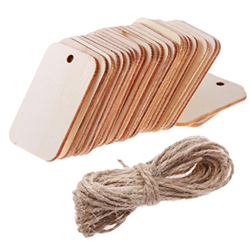 Sharplace Holz Anhänger Geschenkanhänger Namenskarte DIY Basteln für Hochzeit Party Deko - Unvollendete Holz Verzierungen mit Loch für Malerei DIY Kunsthandwerk - 25pcs 52x34mm