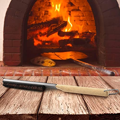 Pizza Oven Cleaning Brush Stainless Steel Scraper With Wooden Long Handle Pizza Brush Brass Brush For Cleaning The Pizza Oven In A Pizzeria, Restaurant Or Cafeteria