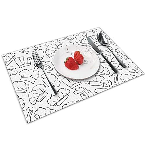 Juego de 4 manteles Individuales para Gorro de Chef para Mesa de Comedor, Mantel Individual Antideslizante Lavable, tapetes Decorativos para Mesa