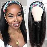 Headband Wig Straight Human Hair for Black Women Brazilian Virgin Human Hair None Lace Wigs Machine Made Headband Half Wig Natural Color (16' Straight wig)