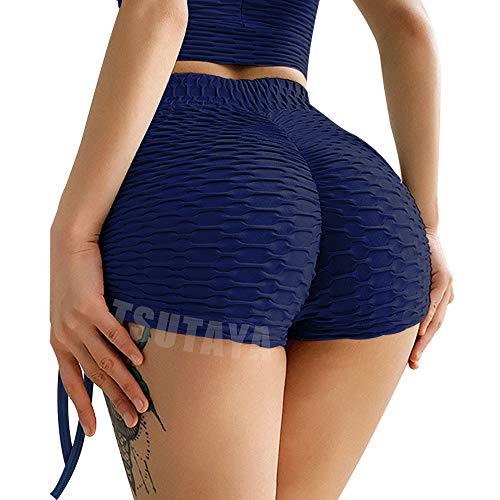 TSUTAYA Butt Lifting Yoga Shorts for Women High Waist Tummy Control Hot Pants Textured Ruched Sports Gym Running Beach Shorts Navy Blue S