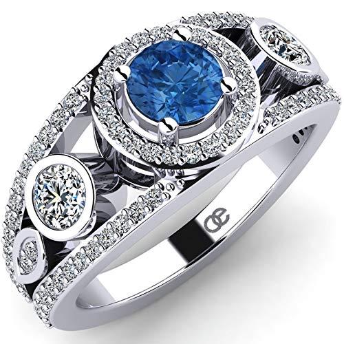 Anillo de mujer Moncoeur Dinorah de plata 925 y 81 piedras de Swarovski - Piedra de Swarovski azul de 5 mm y 80 piedras de Swarovski blancas - Anillo de mujer o anillo de compromiso + Caja de regalo