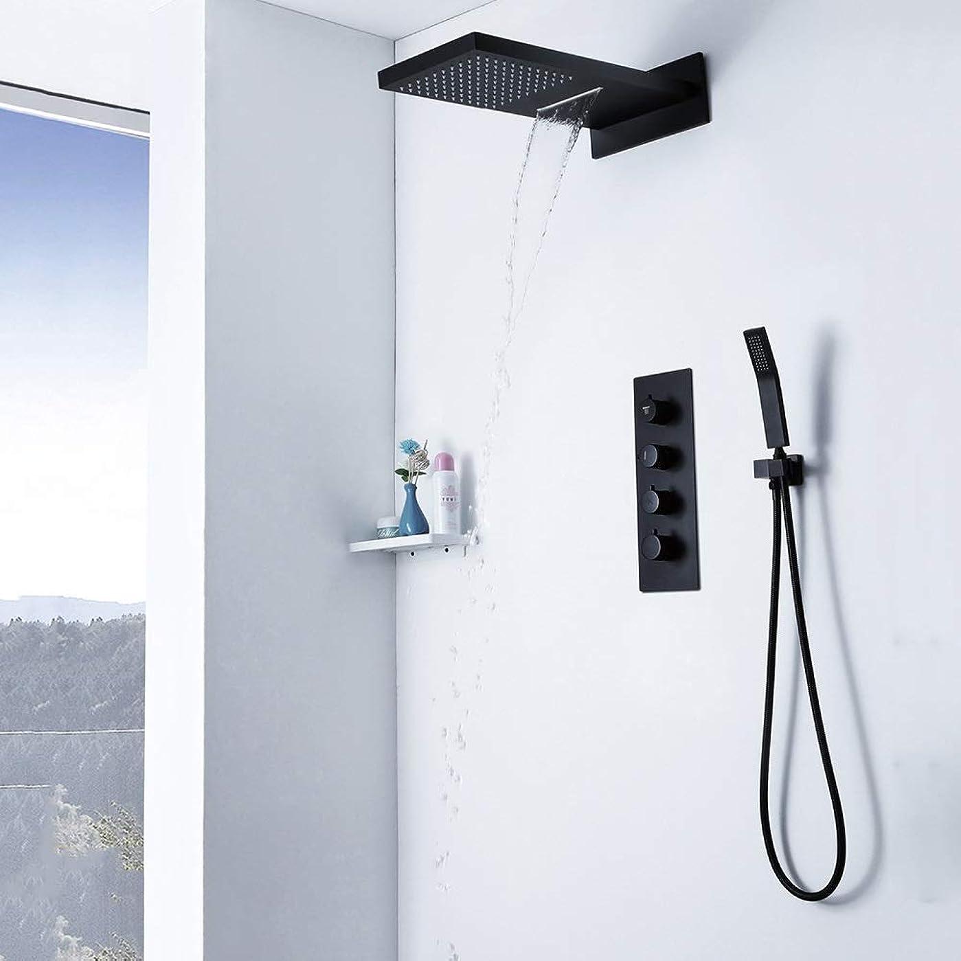 克服するメッセージ繊維シンプルで実用的 壁に取り付けられた水平温度レインシャワーセットシャワールームブラックダークハンドヘルド シンプルで実用的