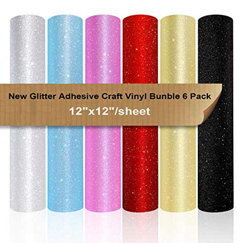 VINYL FROG Paquete de 6 adhesivos de vinilo con purpurina para decoración del hogar con 2 cintas de transferencia