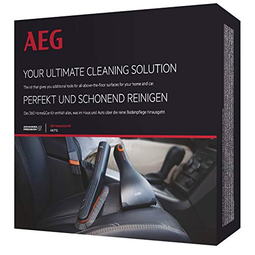 AEG AKIT12 Düsen-Set (360° Home & Car Kit, Detailreinigung, Softbürste, flexible Fugendüse, Mini-Turbodüse, für Sauger mit 36mm Ovalrohr, grau)