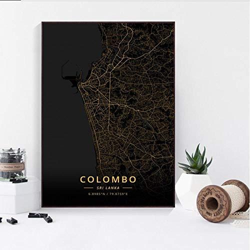 kldfig Colombo Sri Lanka stadsplank goud kaart canvas schilderij kunstdruk muurkunst schilderijen voor woonkamer decoratie - 50x80cm niet ingelijst