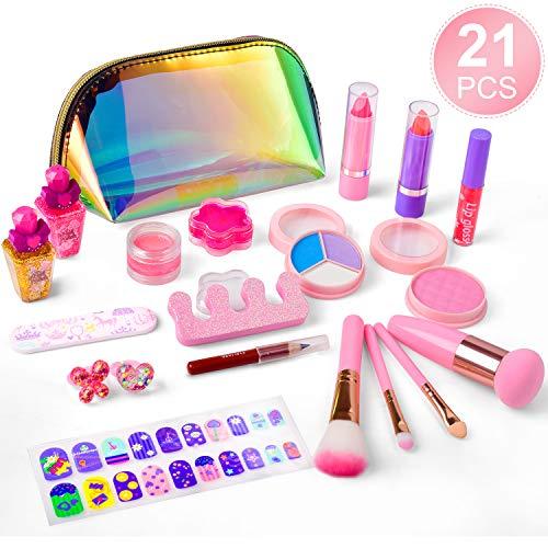 balnore 21 Pcs Maquillage Lavable Jouet Ensemble, Sain, Non-Toxique, Cosmétique Beauté pour Enfants Jouer Jeu