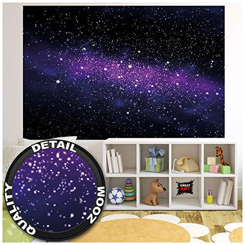 GREAT ART XXL Poster Kinderzimmer – Galaxie Sterne – Wandbild Dekoration Kinderzimmer Weltraum Stars Sky Sternenhimmel Universum Space All Kosmos Weltall Wandposter Wanddeko (140 x 100 cm)