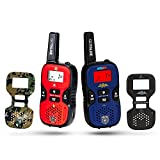 Dress Up America GoTalkie Set of Long Range Portable and Interchangable Police, Spy, Fireman, Army Soldier Theme Plates w/Built in Flashlight, LCD Screen Radio Walkies Kids Pretend Play