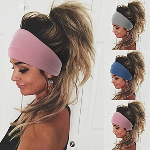Yean Diademas de yoga color rosa y ancho para el pelo, para mujeres y niñas (paquete de 3)