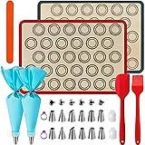 WeChip Tapetes de silicona antiadherente para Hornear,Alfombrilla de silicona para horno,estera para hornear Macaron,Galletas,Pizza,Pan,accesorios para hornear kit-Boquillas/manga pastelera y más.