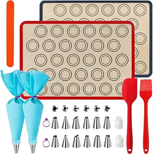 WeChip Tapetes de silicona antiadherente para Hornear,Alfombrilla de silicona para horno,estera para hornear Macaron,Galletas,Pizza,Pan,accesorios para hornear kit-Boquillas manga pastelera y más.