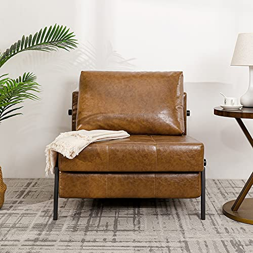 Vonanda Faux Leather Sofa Bed, Easy Folding Sleeper Sofa with Hidden Legs and Sturdy Frame, Modern Sleeper Chair for Compact Living Space,Caramel